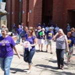Photo of SEIU members forming up at library
