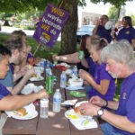 Photo of SEIU members having lunch and listening to Marc