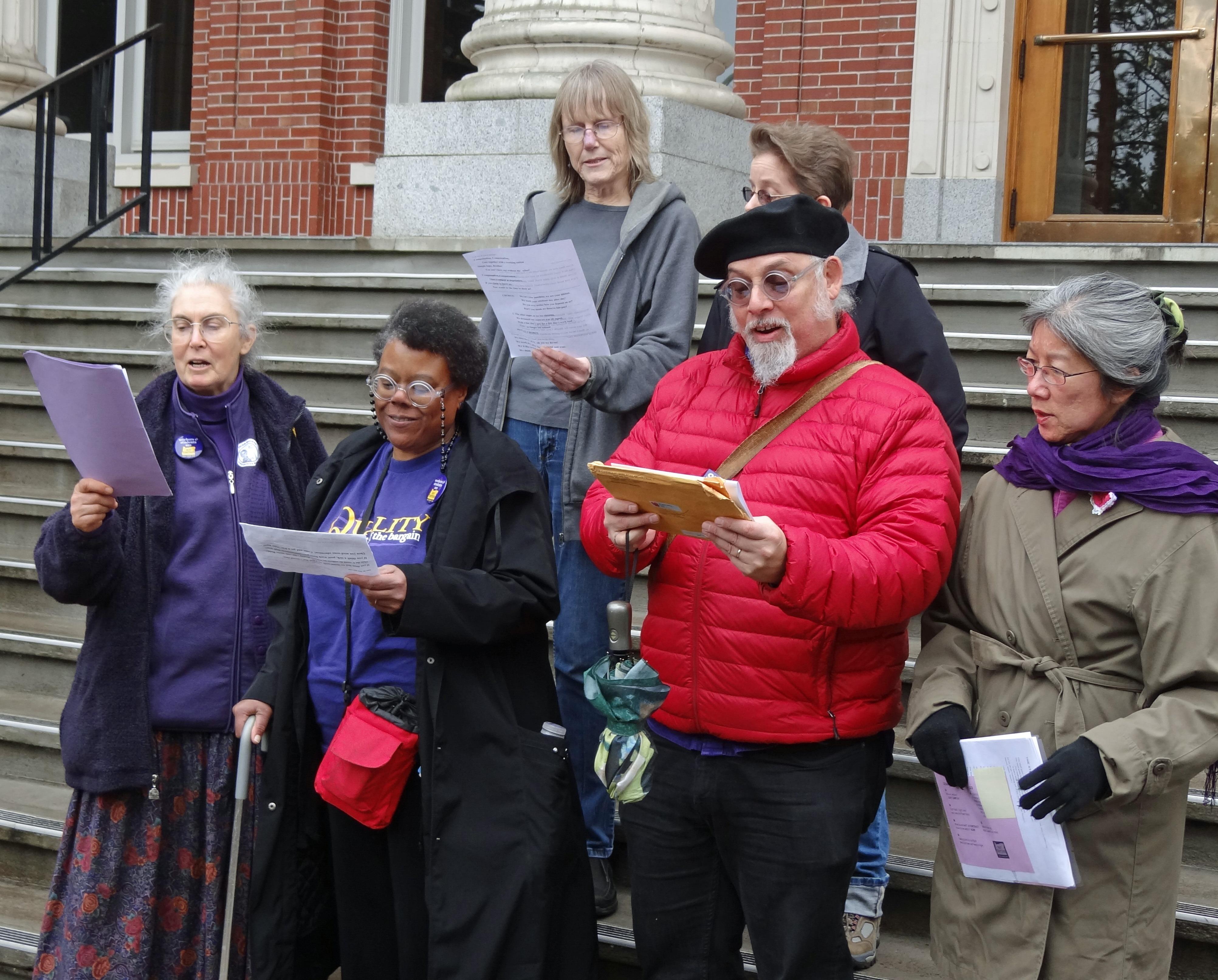 Labor Choir at GTFF Rally: Dorothy Attneave, TK Landazuri, Linda Sappington, David Landazuri, Jani Scallion, and Janny Lau