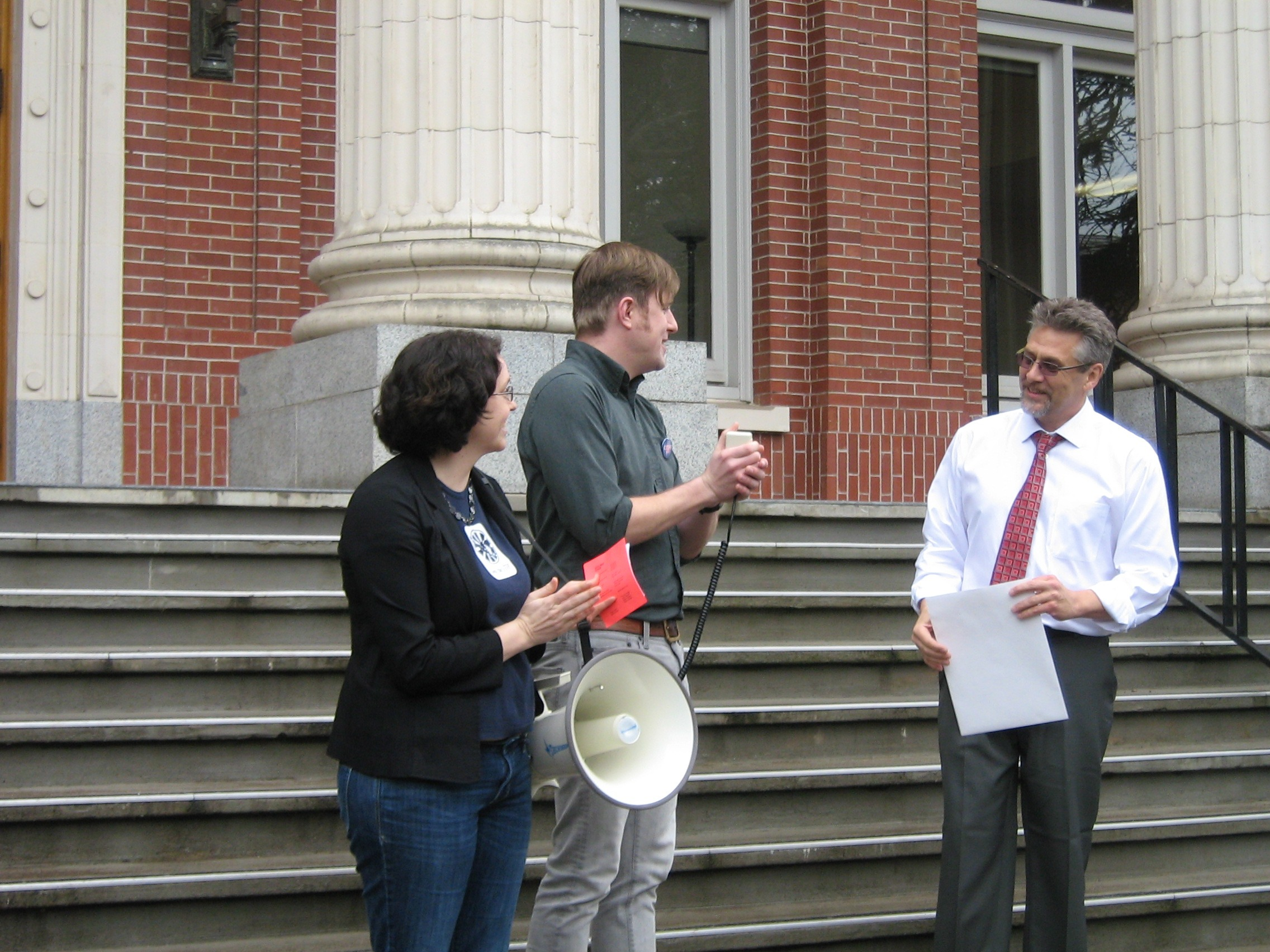 Amber Cooper, David Craig (GTF, Philosophy, GTFF President), Greg Rikhoff (Asst. VP and Chief of Staff to Pres. Gottfredson)