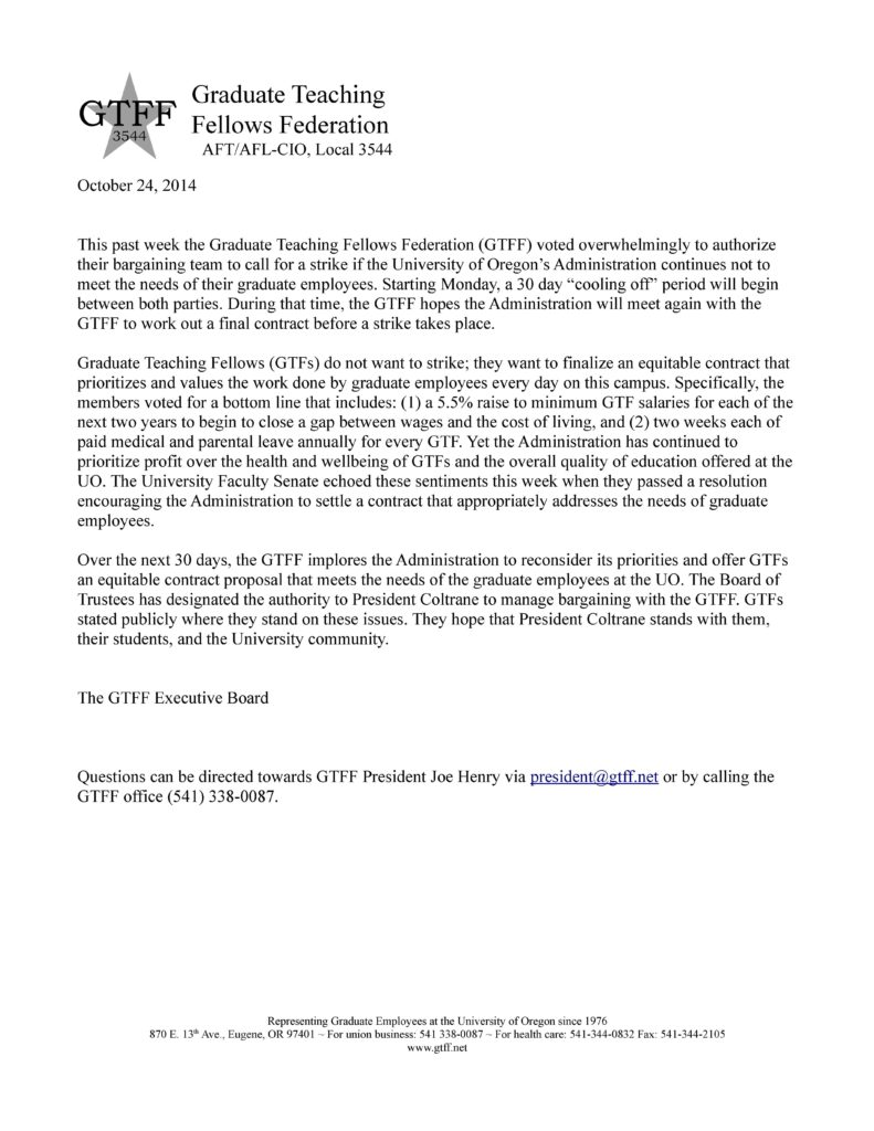 GTFF STRIKE VOTE Press Release 10_24